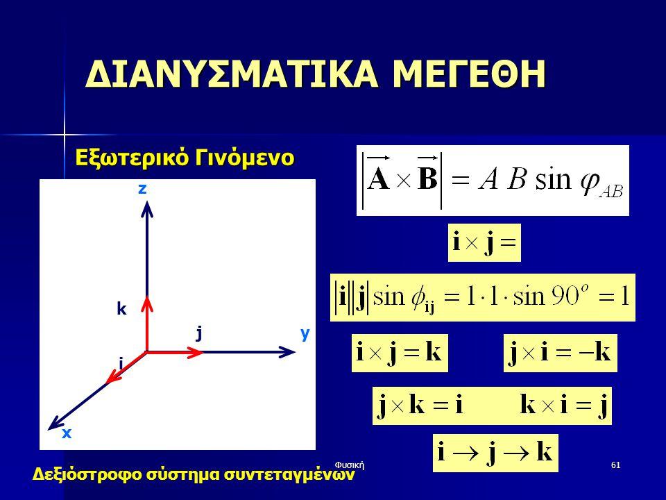 Φυσική61 ΔΙΑΝΥΣΜΑΤΙΚΑ ΜΕΓΕΘΗ Εξωτερικό Γινόμενο y z i j k x Δεξιόστροφο σύστημα συντεταγμένων