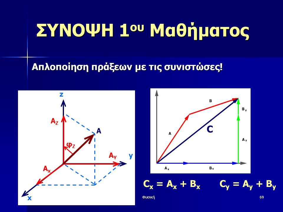 Φυσική69 ΣΥΝΟΨΗ 1 ου Μαθήματος Απλοποίηση πράξεων με τις συνιστώσες! y z AxAx AYAY AZAZ φZφZ x A C x = A x + B x C y = A y + B y C