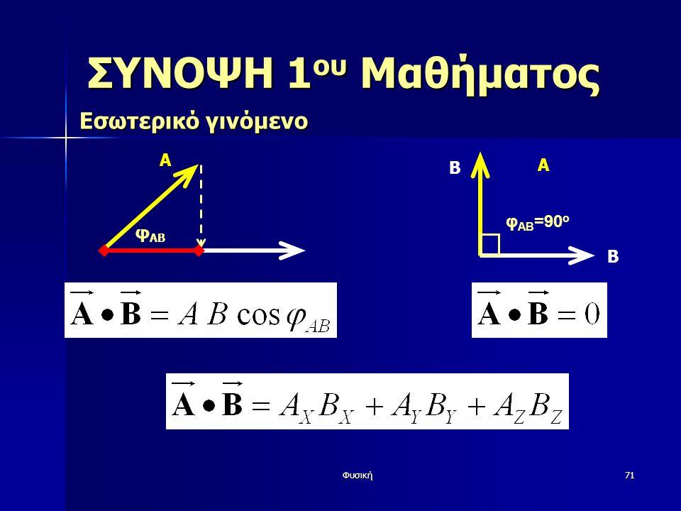 Φυσική71 ΣΥΝΟΨΗ 1 ου Μαθήματος Εσωτερικό γινόμενο A φ AB Β A φ AB =90 o Β