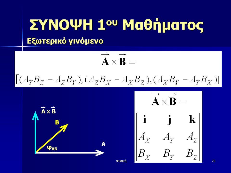 Φυσική73 ΣΥΝΟΨΗ 1 ου Μαθήματος Εξωτερικό γινόμενο Β φ AB Α A X Β