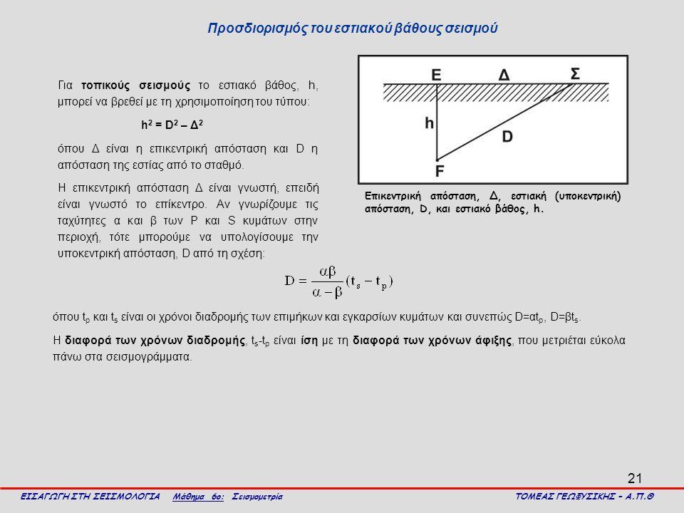 21 Προσδιορισμός του εστιακού βάθους σεισμού ΕΙΣΑΓΩΓΗ ΣΤΗ ΣΕΙΣΜΟΛΟΓΙΑ Μάθημα 6ο: Σεισμομετρία ΤΟΜΕΑΣ ΓΕΩΦΥΣΙΚΗΣ – Α.Π.Θ Για τοπικούς σεισμούς το εστιακό βάθος, h, μπορεί να βρεθεί με τη χρησιμοποίηση του τύπου: h 2 = D 2 – Δ 2 όπου Δ είναι η επικεντρική απόσταση και D η απόσταση της εστίας από το σταθμό.