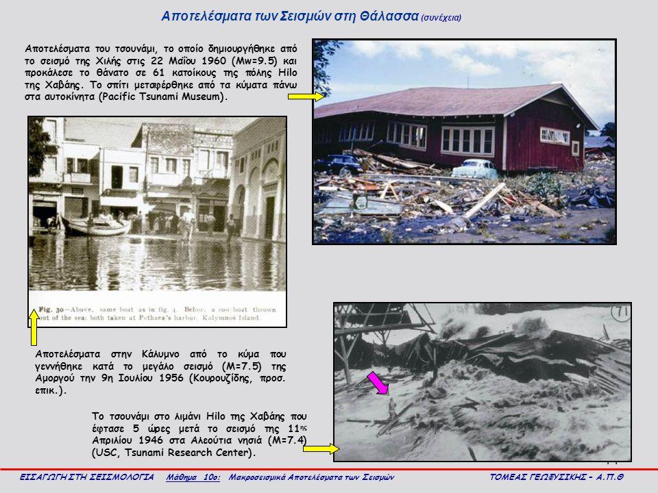 14 Αποτελέσματα των Σεισμών στη Θάλασσα (συνέχεια) ΕΙΣΑΓΩΓΗ ΣΤΗ ΣΕΙΣΜΟΛΟΓΙΑ Μάθημα 10ο: Μακροσεισμικά Αποτελέσματα των Σεισμών ΤΟΜΕΑΣ ΓΕΩΦΥΣΙΚΗΣ – Α.Π