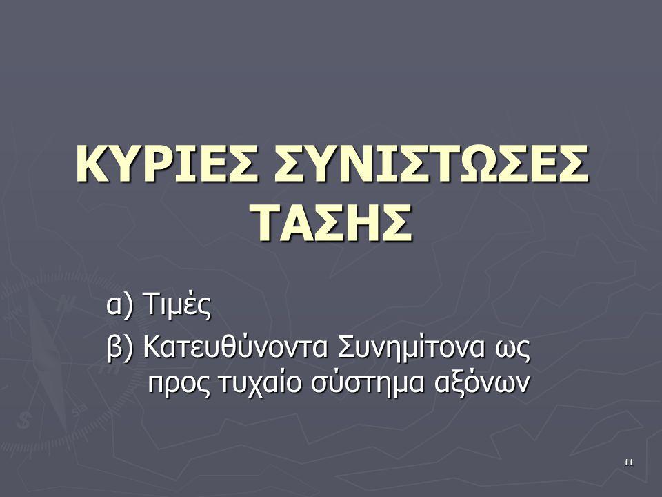 ΚΥΡΙΕΣ ΣΥΝΙΣΤΩΣΕΣ ΤΑΣΗΣ α) Τιμές β) Κατευθύνοντα Συνημίτονα ως προς τυχαίο σύστημα αξόνων 11