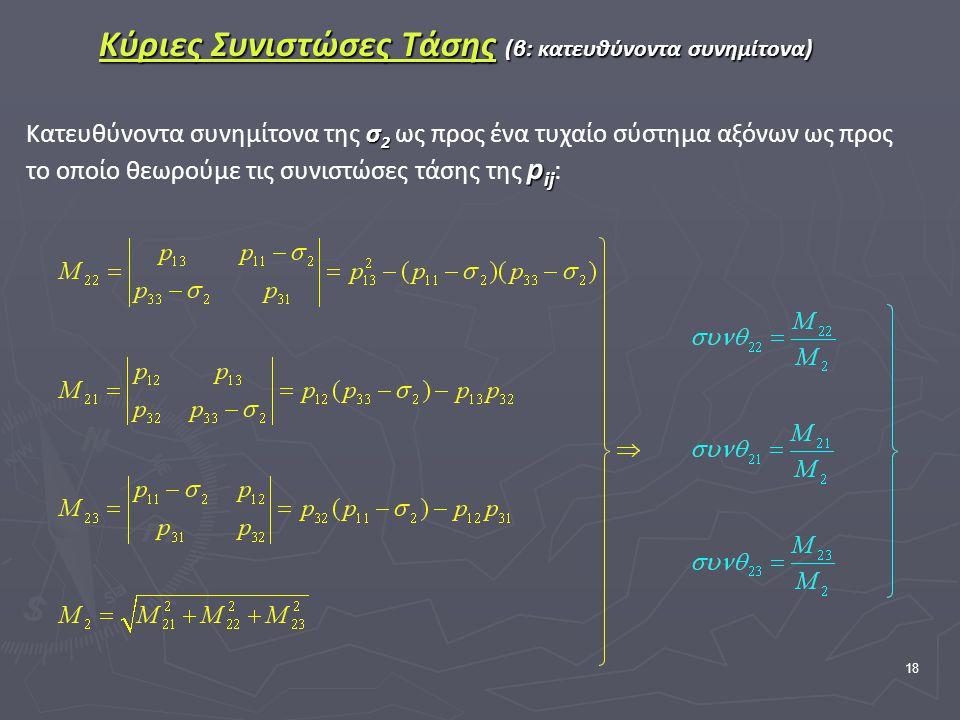 18 Κύριες Συνιστώσες Τάσης (β: κατευθύνοντα συνημίτονα) σ 2 p ij Κατευθύνοντα συνημίτονα της σ 2 ως προς ένα τυχαίο σύστημα αξόνων ως προς το οποίο θεωρούμε τις συνιστώσες τάσης της p ij :