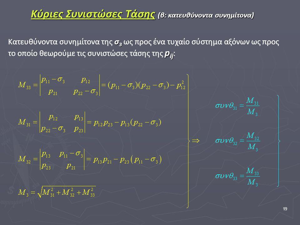 19 Κύριες Συνιστώσες Τάσης (β: κατευθύνοντα συνημίτονα) σ 3 p ij Κατευθύνοντα συνημίτονα της σ 3 ως προς ένα τυχαίο σύστημα αξόνων ως προς το οποίο θεωρούμε τις συνιστώσες τάσης της p ij :