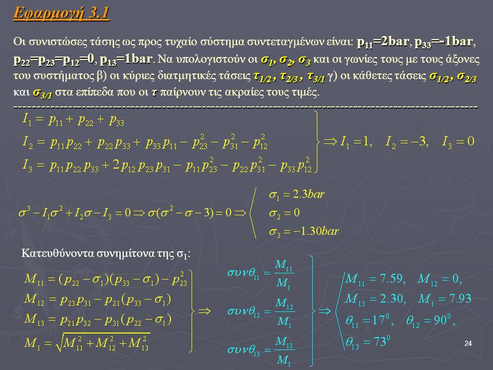 24 Εφαρμογή 3.1 p 11 =2barp 33 = - 1bar p 22 =p 23 =p 12 =0p 13 =1barσ 1, σ 2, σ 3 τ 1/2, τ 2/3, τ 3/1 σ 1/2, σ 2/3 σ 3/1 τ -------------------------------------------------------------------------------------------------------- Εφαρμογή 3.1 Οι συνιστώσες τάσης ως προς τυχαίο σύστημα συντεταγμένων είναι: p 11 =2bar, p 33 = - 1bar, p 22 =p 23 =p 12 =0, p 13 =1bar.