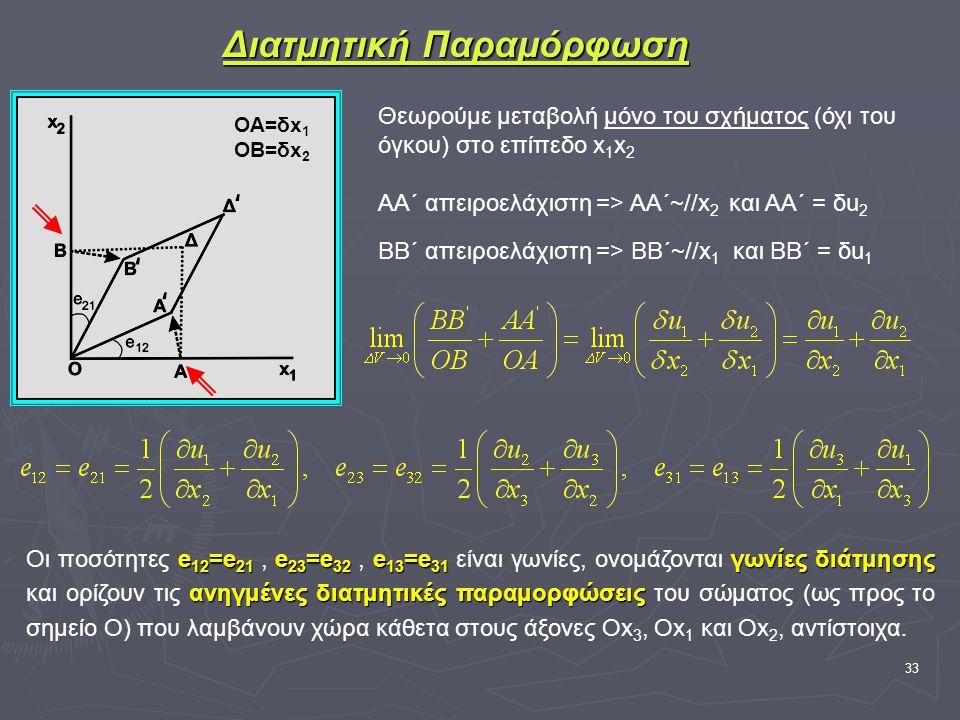 33 Διατμητική Παραμόρφωση Θεωρούμε μεταβολή μόνο του σχήματος (όχι του όγκου) στο επίπεδο x 1 x 2 ΑΑ΄ απειροελάχιστη => ΑΑ΄~//x 2 και ΑΑ΄ = δu 2 ΒΒ΄ απειροελάχιστη => ΒΒ΄~//x 1 και ΒΒ΄ = δu 1 e 12 =e 21 e 23 =e 32 e 13 =e 31 γωνίες διάτμησης ανηγμένες διατμητικές παραμορφώσεις Οι ποσότητες e 12 =e 21, e 23 =e 32, e 13 =e 31 είναι γωνίες, ονομάζονται γωνίες διάτμησης και ορίζουν τις ανηγμένες διατμητικές παραμορφώσεις του σώματος (ως προς το σημείο Ο) που λαμβάνουν χώρα κάθετα στους άξονες Ox 3, Οx 1 και Ox 2, αντίστοιχα.