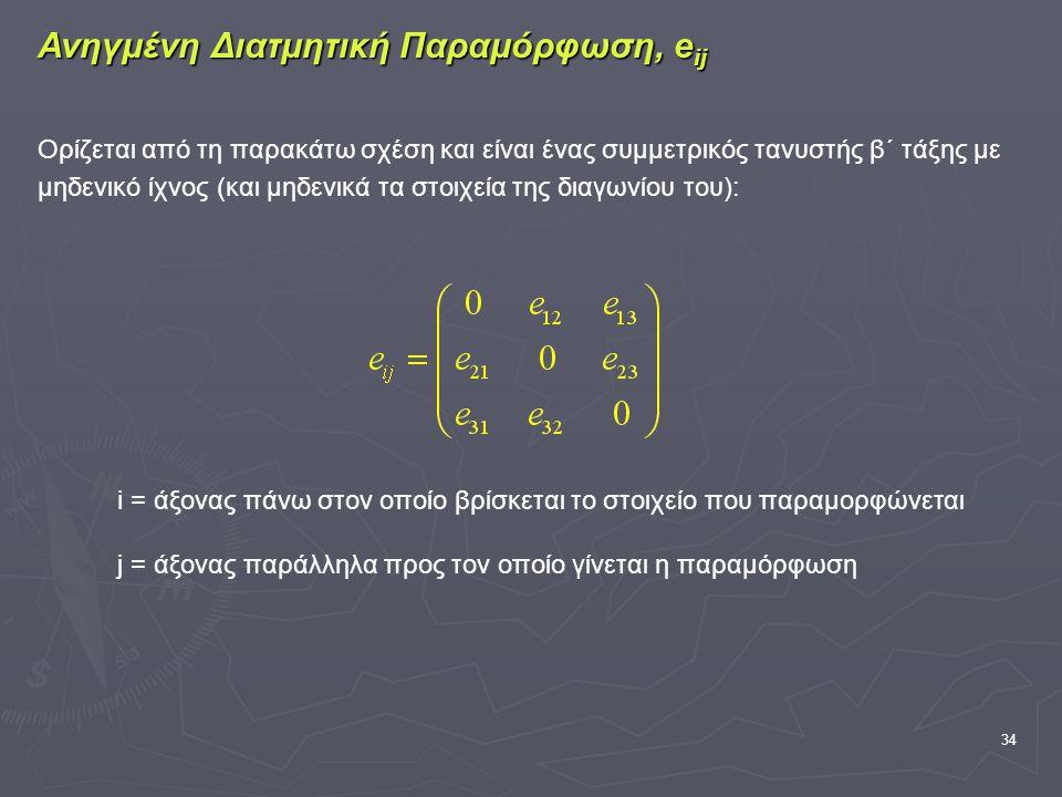 34 Ανηγμένη Διατμητική Παραμόρφωση, e ij Ορίζεται από τη παρακάτω σχέση και είναι ένας συμμετρικός τανυστής β΄ τάξης με μηδενικό ίχνος (και μηδενικά τα στοιχεία της διαγωνίου του): i = άξονας πάνω στον οποίο βρίσκεται το στοιχείο που παραμορφώνεται j = άξονας παράλληλα προς τον οποίο γίνεται η παραμόρφωση