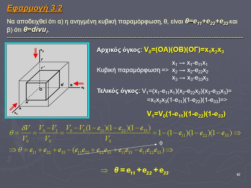 42 Εφαρμογή 3.2 θ=e 11 +e 22 +e 33 θ=divu i -------------------------------------------------------------------------------------------------------- Εφαρμογή 3.2 Να αποδειχθεί ότι α) η ανηγμένη κυβική παραμόρφωση, θ, είναι θ=e 11 +e 22 +e 33 και β) ότι θ=divu i.