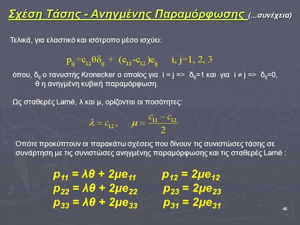 46 Σχέση Τάσης - Ανηγμένης Παραμόρφωσης (...συνέχεια) Τελικά, για ελαστικό και ισότροπο μέσο ισχύει: όπου, δ ij ο τανυστής Kronecker o οποίος για i = j => δ ij =1 και για i  j => δ ij =0, θ η ανηγμένη κυβική παραμόρφωση.