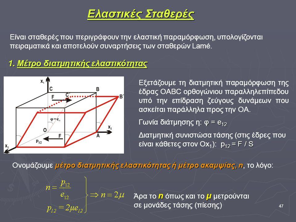47 Ελαστικές Σταθερές Είναι σταθερές που περιγράφουν την ελαστική παραμόρφωση, υπολογίζονται πειραματικά και αποτελούν συναρτήσεις των σταθερών Lamé.