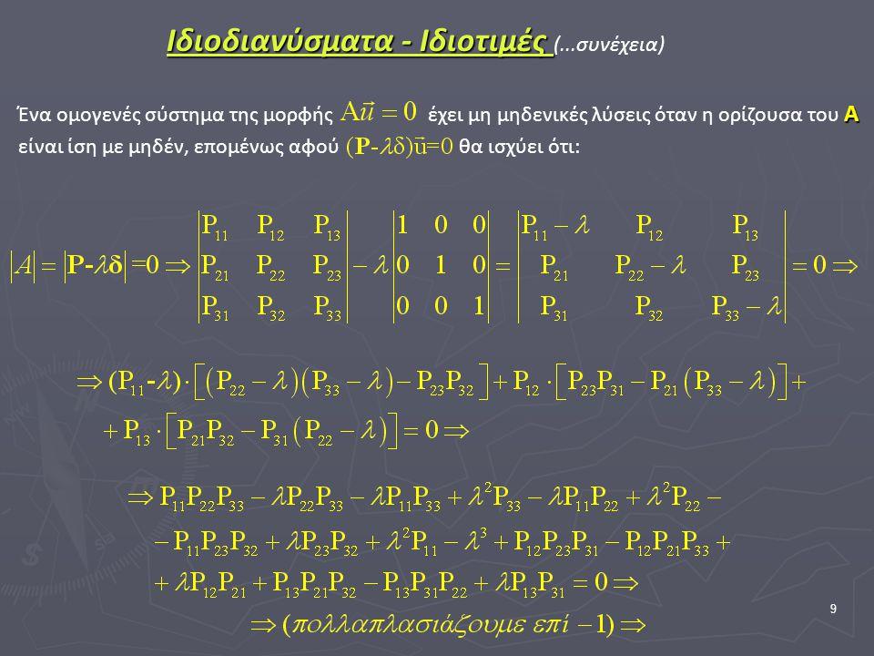 9 Ιδιοδιανύσματα - Ιδιοτιμές Ιδιοδιανύσματα - Ιδιοτιμές (...συνέχεια) Α Ένα ομογενές σύστημα της μορφής έχει μη μηδενικές λύσεις όταν η ορίζουσα του Α είναι ίση με μηδέν, επομένως αφού θα ισχύει ότι: