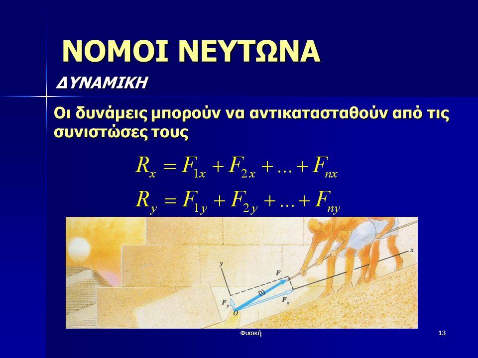 Φυσική13 ΝΟΜΟΙ ΝΕΥΤΩΝΑ ΔΥΝΑΜΙΚΗ Οι δυνάμεις μπορούν να αντικατασταθούν από τις συνιστώσες τους