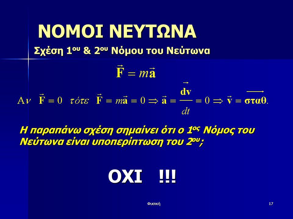Φυσική17 ΝΟΜΟΙ ΝΕΥΤΩΝΑ Σχέση 1 ου & 2 ου Νόμου του Νεύτωνα ΟΧΙ !!! Η παραπάνω σχέση σημαίνει ότι ο 1 ος Νόμος του Νεύτωνα είναι υποπερίπτωση του 2 ου