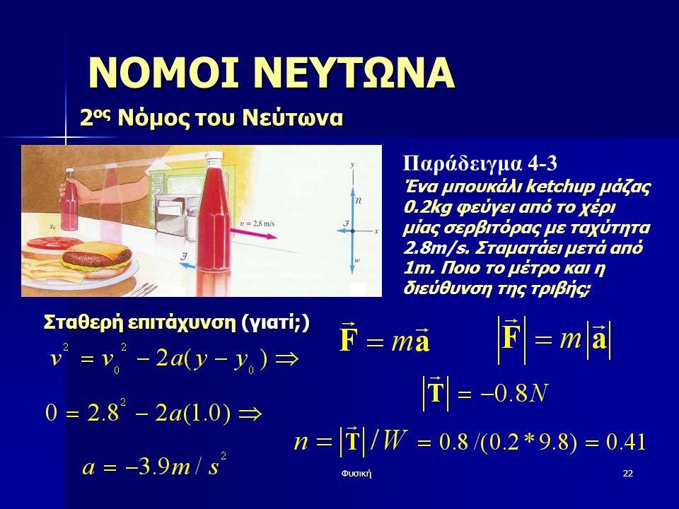 Φυσική22 ΝΟΜΟΙ ΝΕΥΤΩΝΑ 2 ος Νόμος του Νεύτωνα Παράδειγμα 4-3 Ένα μπουκάλι ketchup μάζας 0.2kg φεύγει από το χέρι μίας σερβιτόρας με ταχύτητα 2.8m/s.