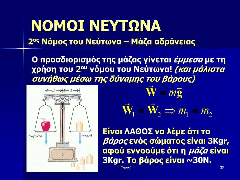 Φυσική23 ΝΟΜΟΙ ΝΕΥΤΩΝΑ 2 ος Νόμος του Νεύτωνα – Μάζα αδράνειας Είναι ΛΑΘΟΣ να λέμε ότι το βάρος ενός σώματος είναι 3Kgr, αφού εννοούμε ότι η μάζα είναι 3Kgr.