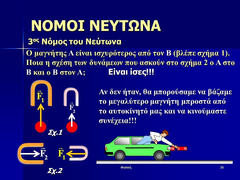 Φυσική26 Ο μαγνήτης A είναι ισχυρότερος από τον Β (βλέπε σχήμα 1). Ποια η σχέση των δυνάμεων που ασκούν στο σχήμα 2 ο Α στο Β και ο Β στον Α; ΝΟΜΟΙ ΝΕ