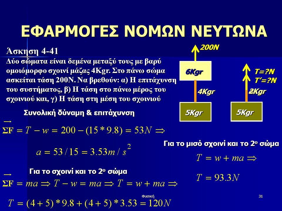 Φυσική31 Άσκηση 4-41 Δύο σώματα είναι δεμένα μεταξύ τους με βαρύ ομοιόμορφο σχοινί μάζας 4Kgr. Στο πάνω σώμα ασκείται τάση 200Ν. Να βρεθούν: α) Η επιτ