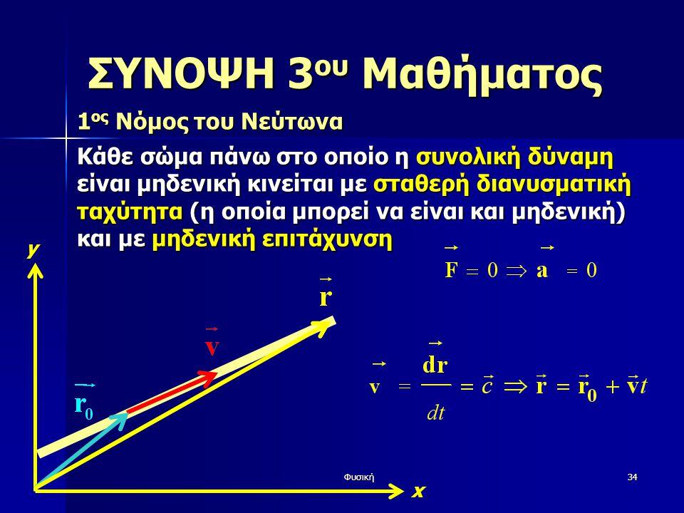 Φυσική34 ΣΥΝΟΨΗ 3 ου Μαθήματος 1 ος Νόμος του Νεύτωνα Κάθε σώμα πάνω στο οποίο η συνολική δύναμη είναι μηδενική κινείται με σταθερή διανυσματική ταχύτητα (η οποία μπορεί να είναι και μηδενική) και με μηδενική επιτάχυνση y x
