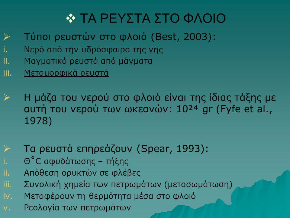   ΤΑ ΡΕΥΣΤΑ ΣΤΟ ΦΛΟΙΟ i. i.Νερό από την υδρόσφαιρα της γης ii. ii.Μαγματικά ρευστά από μάγματα iii. iii.Μεταμορφικά ρευστά   Η μάζα του νερού στο
