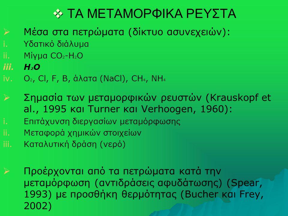  ΤΑ ΜΕΤΑΜΟΡΦΙΚΑ ΡΕΥΣΤΑ   Μέσα στα πετρώματα (δίκτυο ασυνεχειών): i. i.Υδατικό διάλυμα ii. ii.Μίγμα CO 2 -H 2 O iii. iii.H 2 O iv. iv.O 2, Cl, F,