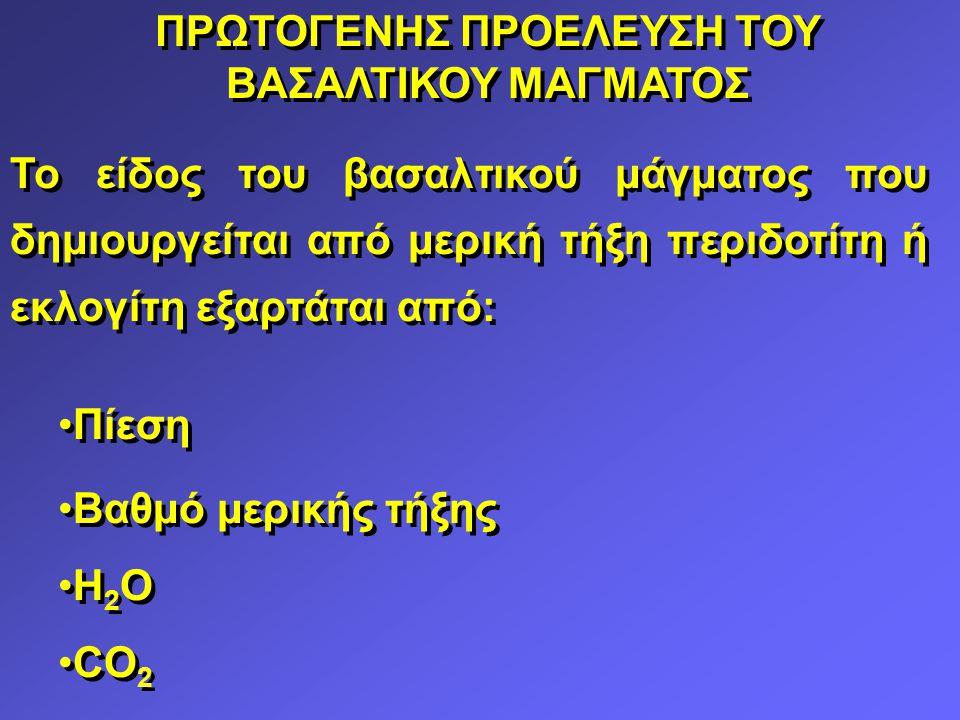 ΠΡΩΤΟΓΕΝΗΣ ΠΡΟΕΛΕΥΣΗ ΤΟΥ ΒΑΣΑΛΤΙΚΟΥ ΜΑΓΜΑΤΟΣ Το είδος του βασαλτικού μάγματος που δημιουργείται από μερική τήξη περιδοτίτη ή εκλογίτη εξαρτάται από: Πίεση Βαθμό μερικής τήξης Η 2 Ο CO 2 Το είδος του βασαλτικού μάγματος που δημιουργείται από μερική τήξη περιδοτίτη ή εκλογίτη εξαρτάται από: Πίεση Βαθμό μερικής τήξης Η 2 Ο CO 2