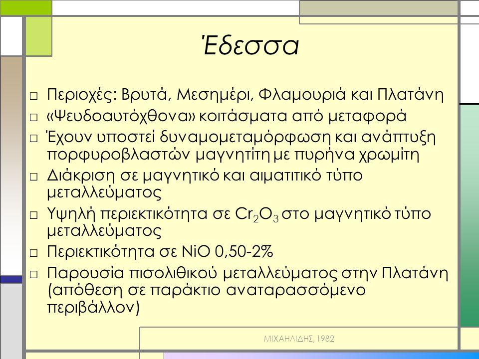 Έδεσσα □Περιοχές: Βρυτά, Μεσημέρι, Φλαμουριά και Πλατάνη □«Ψευδοαυτόχθονα» κοιτάσματα από μεταφορά □Έχουν υποστεί δυναμομεταμόρφωση και ανάπτυξη πορφυροβλαστών μαγνητίτη με πυρήνα χρωμίτη □Διάκριση σε μαγνητικό και αιματιτικό τύπο μεταλλεύματος □Υψηλή περιεκτικότητα σε Cr 2 O 3 στο μαγνητικό τύπο μεταλλεύματος □Περιεκτικότητα σε ΝiO 0,50-2% □Παρουσία πισολιθικού μεταλλεύματος στην Πλατάνη (απόθεση σε παράκτιο αναταρασσόμενο περιβάλλον) ΜΙΧΑΗΛΙΔΗΣ, 1982
