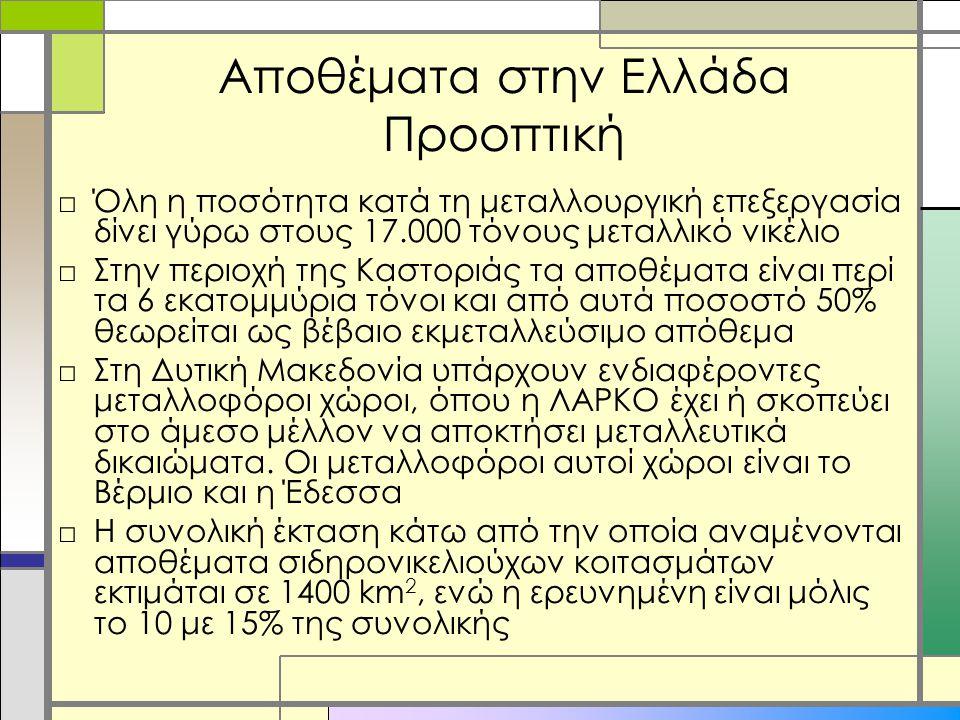 Αποθέματα στην Ελλάδα Προοπτική □Όλη η ποσότητα κατά τη μεταλλουργική επεξεργασία δίνει γύρω στους 17.000 τόνους μεταλλικό νικέλιο □Στην περιοχή της Καστοριάς τα αποθέματα είναι περί τα 6 εκατομμύρια τόνοι και από αυτά ποσοστό 50% θεωρείται ως βέβαιο εκμεταλλεύσιμο απόθεμα □Στη Δυτική Μακεδονία υπάρχουν ενδιαφέροντες μεταλλοφόροι χώροι, όπου η ΛΑΡΚΟ έχει ή σκοπεύει στο άμεσο μέλλον να αποκτήσει μεταλλευτικά δικαιώματα.