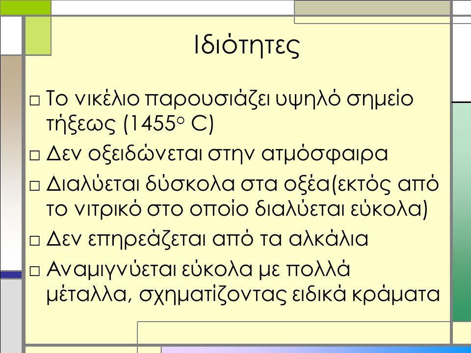 Ιδιότητες □Το νικέλιο παρουσιάζει υψηλό σημείο τήξεως (1455 ο C) □Δεν οξειδώνεται στην ατμόσφαιρα □Διαλύεται δύσκολα στα οξέα(εκτός από το νιτρικό στο οποίο διαλύεται εύκολα) □Δεν επηρεάζεται από τα αλκάλια □Αναμιγνύεται εύκολα με πολλά μέταλλα, σχηματίζοντας ειδικά κράματα