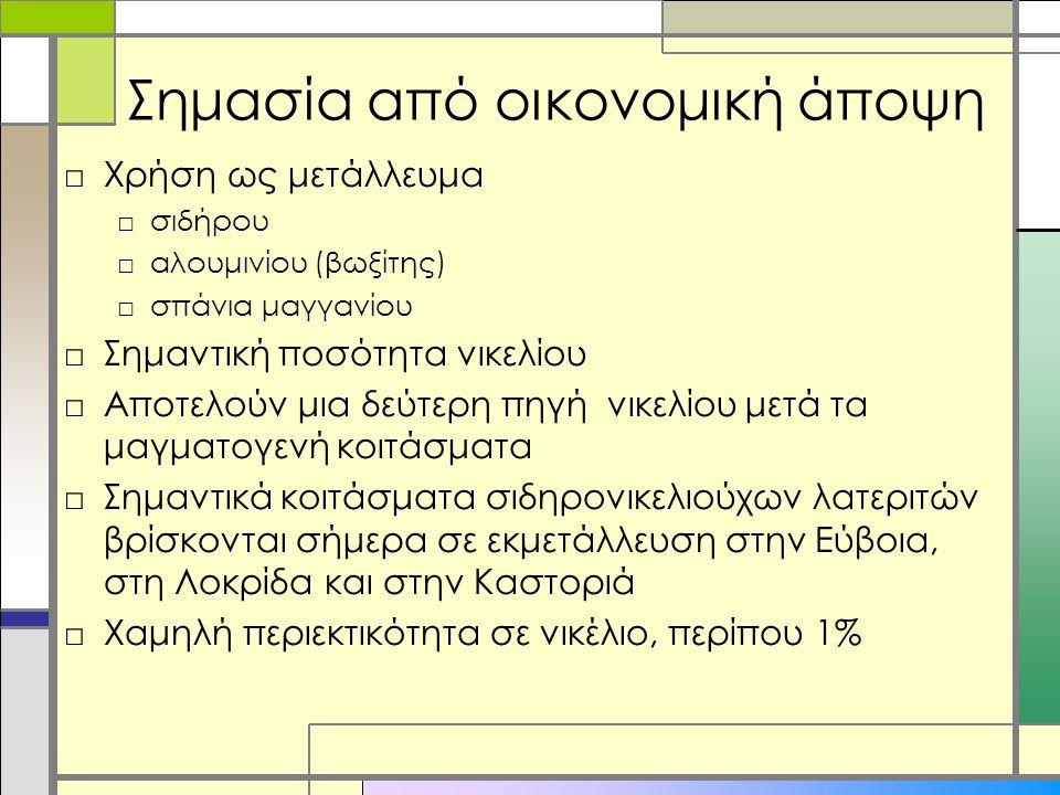 Σημασία από οικονομική άποψη □Χρήση ως μετάλλευμα □σιδήρου □αλουμινίου (βωξίτης) □σπάνια μαγγανίου □Σημαντική ποσότητα νικελίου □Αποτελούν μια δεύτερη πηγή νικελίου μετά τα μαγματογενή κοιτάσματα □Σημαντικά κοιτάσματα σιδηρονικελιούχων λατεριτών βρίσκονται σήμερα σε εκμετάλλευση στην Εύβοια, στη Λοκρίδα και στην Καστοριά □Χαμηλή περιεκτικότητα σε νικέλιο, περίπου 1%