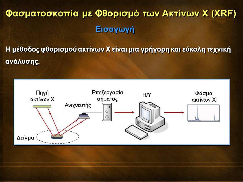 Η μέθοδος φθορισμού ακτίνων Χ είναι μια γρήγορη και εύκολη τεχνική ανάλυσης. Φασματοσκοπία με Φθορισμό των Ακτίνων Χ (XRF) Εισαγωγή Δείγμα