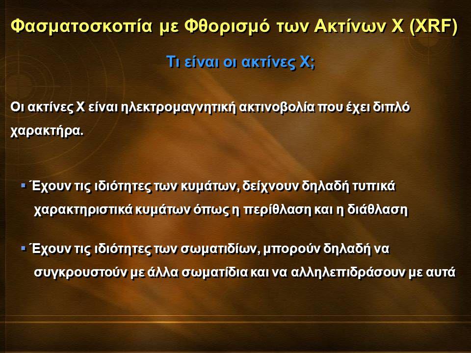Φασματοσκοπία με Φθορισμό των Ακτίνων Χ (XRF) Οι ακτίνες Χ είναι ηλεκτρομαγνητική ακτινοβολία που έχει διπλό χαρακτήρα. Τι είναι οι ακτίνες Χ;  Έχουν