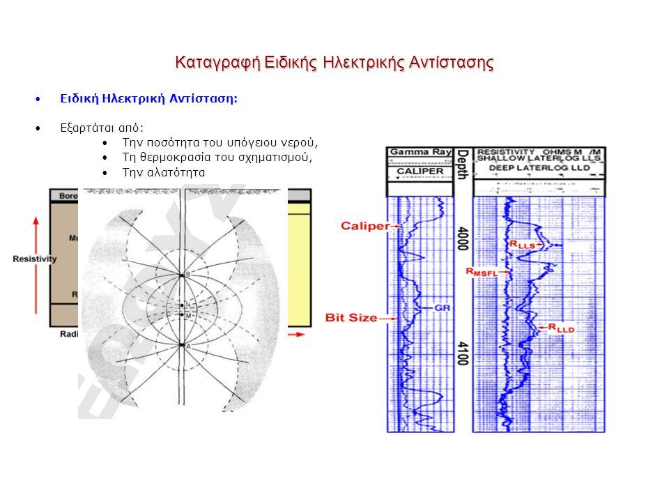 Καταγραφή Ειδικής Ηλεκτρικής Αντίστασης Ειδική Ηλεκτρική Αντίσταση: Εξαρτάται από: Την ποσότητα του υπόγειου νερού, Τη θερμοκρασία του σχηματισμού, Τη