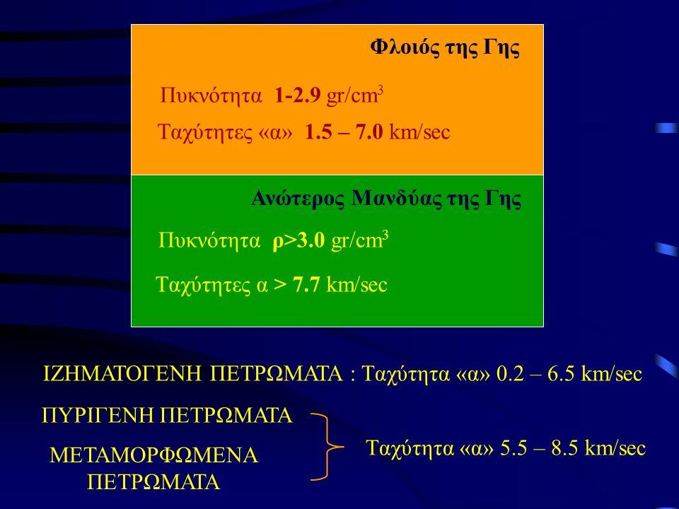 Ανώτερος Μανδύας της Γης Πυκνότητα 1-2.9 gr/cm 3 Tαχύτητες «α» 1.5 – 7.0 km/sec Πυκνότητα ρ>3.0 gr/cm 3 Tαχύτητες α > 7.7 km/sec Φλοιός της Γης ΙΖΗΜΑΤΟΓΕΝΗ ΠΕΤΡΩΜΑΤΑ : Tαχύτητα «α» 0.2 – 6.5 km/sec ΠΥΡΙΓΕΝΗ ΠΕΤΡΩΜΑΤΑ ΜΕΤΑΜΟΡΦΩΜΕΝΑ ΠΕΤΡΩΜΑΤΑ Tαχύτητα «α» 5.5 – 8.5 km/sec