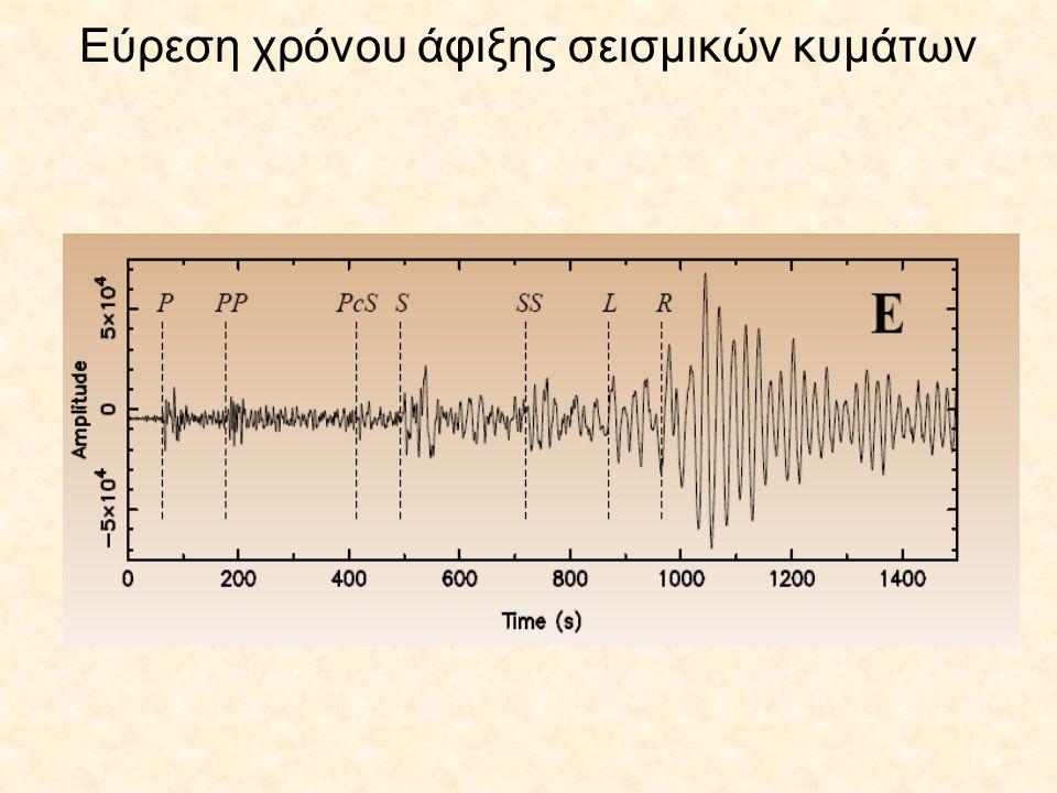 (συνέχεια) Η διαφορά των χρόνων διαδρομής είναι ίση με την διαφορά των χρόνων άφιξης που μετριούνται εύκολα πάνω στα σεισμογράμματα.