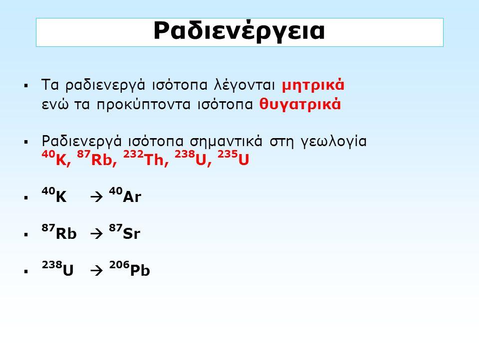 Ραδιενέργεια  Τα ραδιενεργά ισότοπα λέγονται μητρικά ενώ τα προκύπτοντα ισότοπα θυγατρικά  Ραδιενεργά ισότοπα σημαντικά στη γεωλογία 40 K, 87 Rb, 23