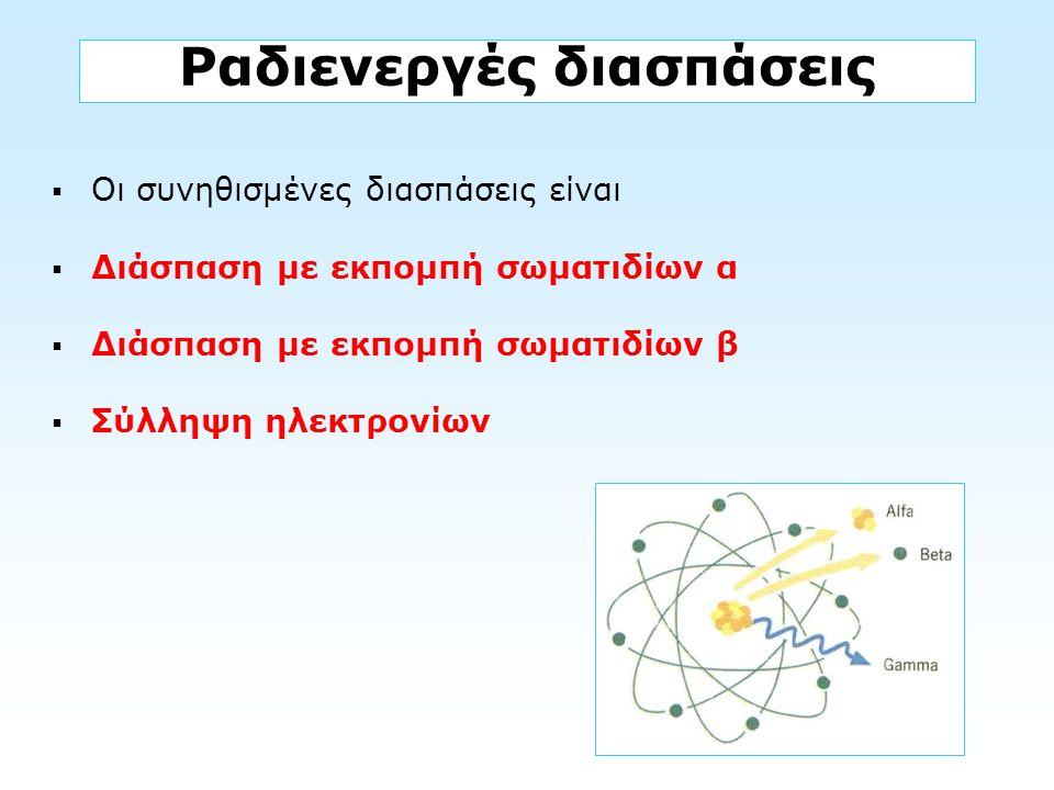 Ραδιενεργές διασπάσεις  Οι συνηθισμένες διασπάσεις είναι  Διάσπαση με εκπομπή σωματιδίων α  Διάσπαση με εκπομπή σωματιδίων β  Σύλληψη ηλεκτρονίων
