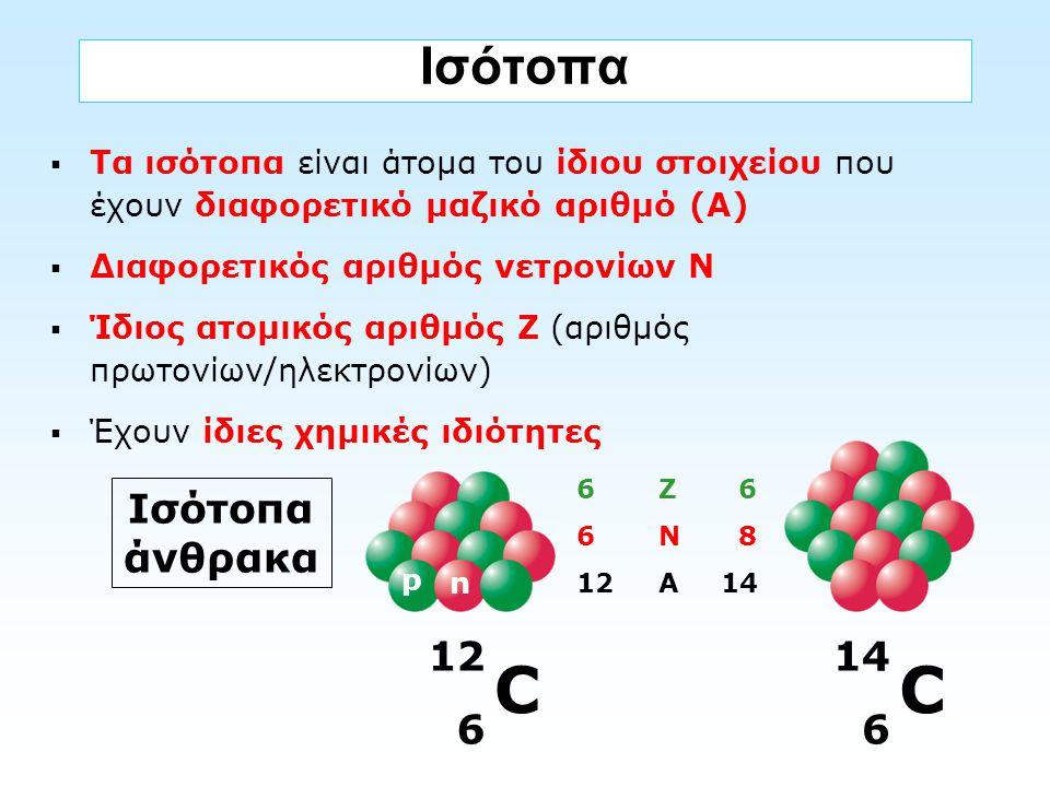 Ισότοπα  Τα ισότοπα είναι άτομα του ίδιου στοιχείου που έχουν διαφορετικό μαζικό αριθμό (Α)  Διαφορετικός αριθμός νετρονίων Ν  Ίδιος ατομικός αριθμ
