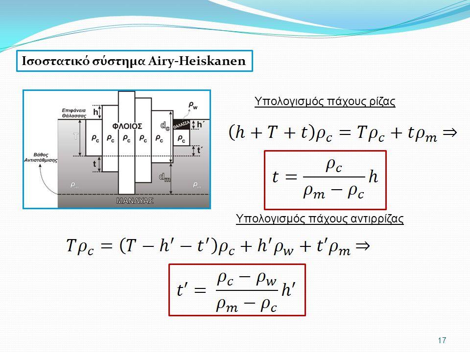 17 Υπολογισμός πάχους ρίζας Υπολογισμός πάχους αντιρρίζας Ισοστατικό σύστημα Airy-Heiskanen
