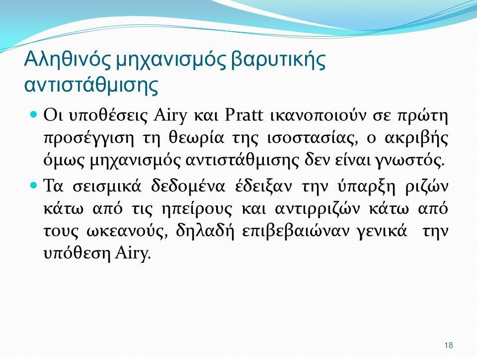 18 Αληθινός μηχανισμός βαρυτικής αντιστάθμισης Οι υποθέσεις Airy και Pratt ικανοποιούν σε πρώτη προσέγγιση τη θεωρία της ισοστασίας, ο ακριβής όμως μη
