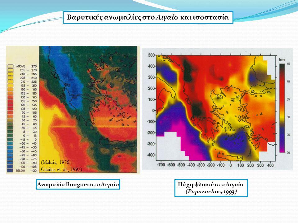 Ανωμαλία Bouguer στο Αιγαίο (Makris, 1976, Chailas et al., 1992) Πάχη φλοιού στο Αιγαίο (Papazachos, 1993)