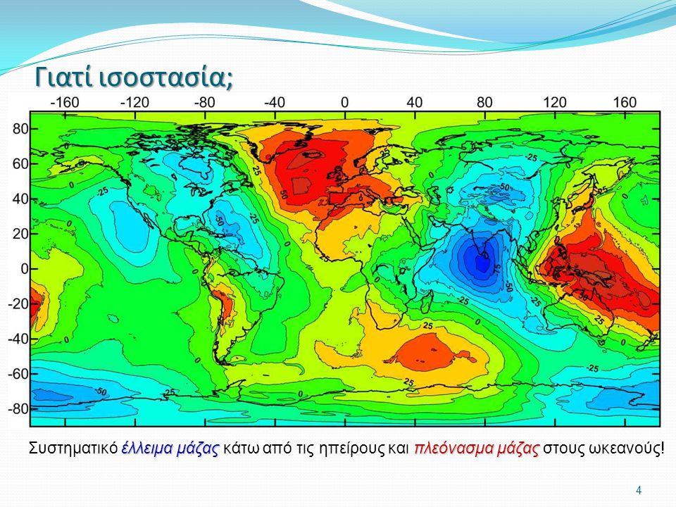 4 Γιατί ισοστασία; Οι ήπειροι θα έπρεπε να έχουν τεράστιο πλεόνασμα μάζας σε σχέση με τους ωκεανούς. Δεν ισχύει όμως αυτό, αφού το γεωειδές δεν δείχνε