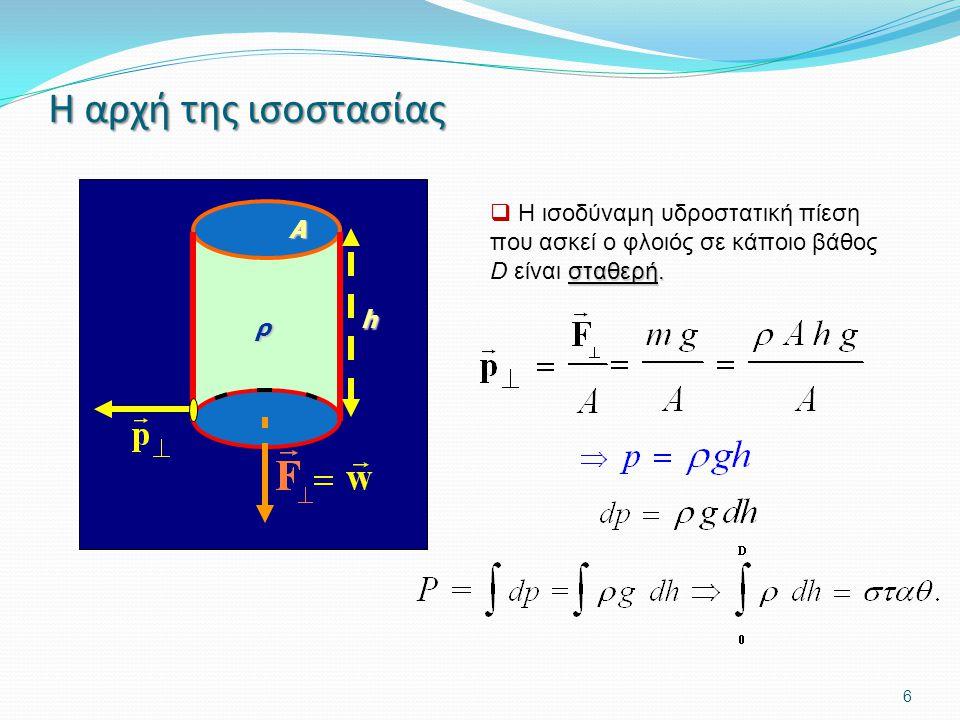 6 Η αρχή της ισοστασίας σταθερή.  Η ισοδύναμη υδροστατική πίεση που ασκεί ο φλοιός σε κάποιο βάθος D είναι σταθερή. ρ h A