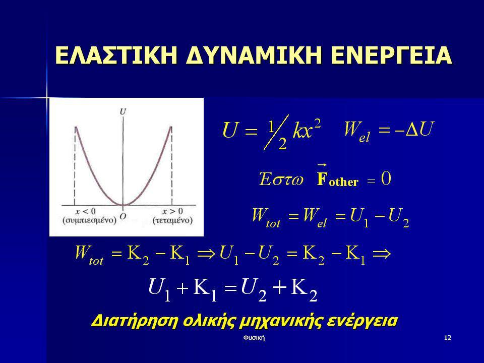 Φυσική12 ΕΛΑΣΤΙΚΗ ΔΥΝΑΜΙΚΗ ΕΝΕΡΓΕΙΑ Διατήρηση ολικής μηχανικής ενέργεια