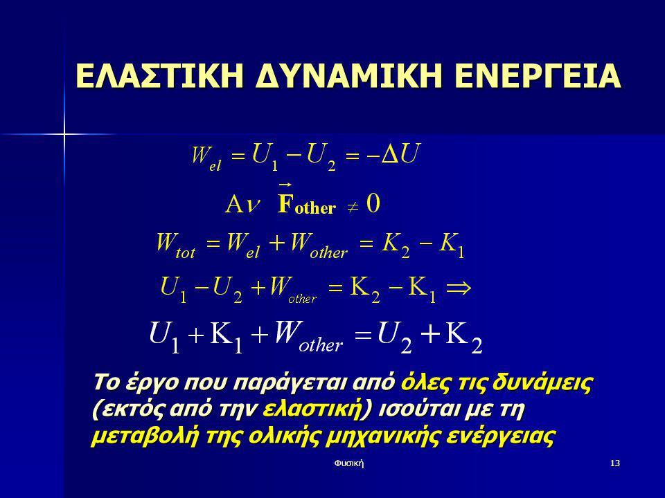 Φυσική13 ΕΛΑΣΤΙΚΗ ΔΥΝΑΜΙΚΗ ΕΝΕΡΓΕΙΑ Το έργο που παράγεται από όλες τις δυνάμεις (εκτός από την ελαστική) ισούται με τη μεταβολή της ολικής μηχανικής ε