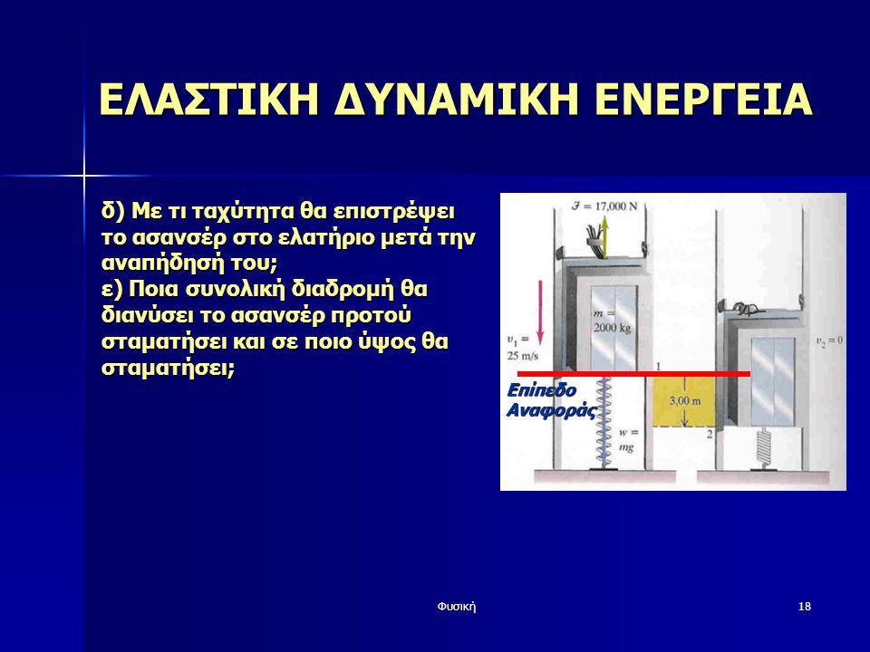 Φυσική18 ΕΛΑΣΤΙΚΗ ΔΥΝΑΜΙΚΗ ΕΝΕΡΓΕΙΑ δ) Με τι ταχύτητα θα επιστρέψει το ασανσέρ στο ελατήριο μετά την αναπήδησή του; ε) Ποια συνολική διαδρομή θα διανύ