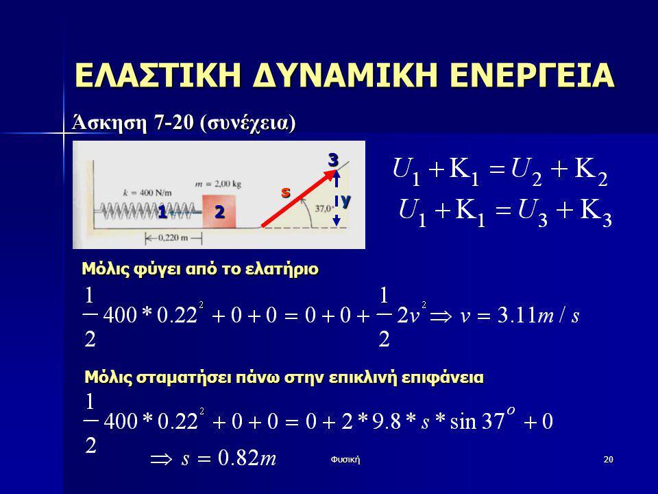 Φυσική20 ΕΛΑΣΤΙΚΗ ΔΥΝΑΜΙΚΗ ΕΝΕΡΓΕΙΑ Άσκηση 7-20 (συνέχεια) Μόλις φύγει από το ελατήριο Μόλις σταματήσει πάνω στην επικλινή επιφάνεια y s 12 3