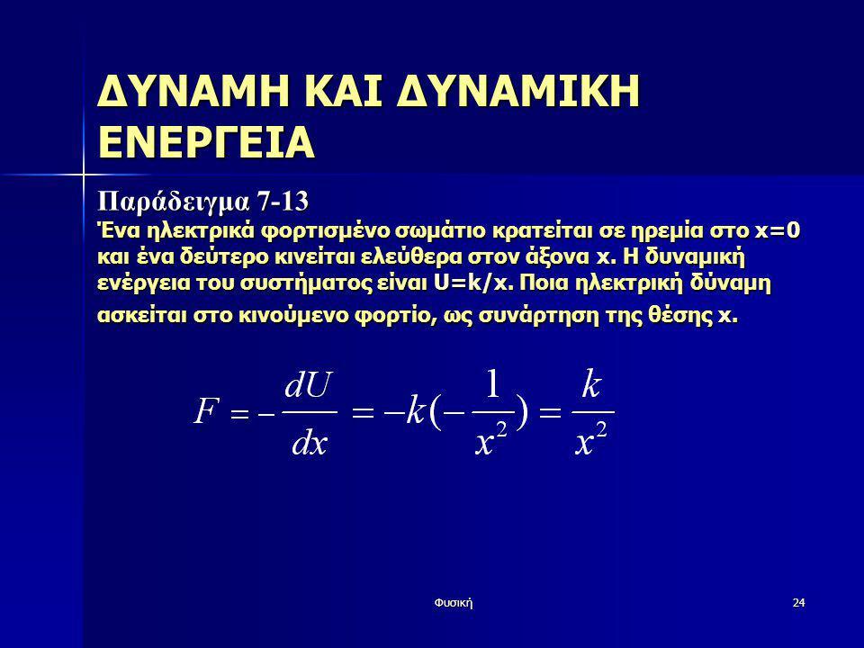 Φυσική24 ΔΥΝΑΜΗ ΚΑΙ ΔΥΝΑΜΙΚΗ ΕΝΕΡΓΕΙΑ Παράδειγμα 7-13 Ένα ηλεκτρικά φορτισμένο σωμάτιο κρατείται σε ηρεμία στο x=0 και ένα δεύτερο κινείται ελεύθερα σ