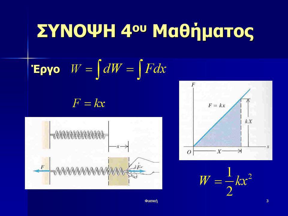 Φυσική44 ΣΥΝΟΨΗ 5 ου Μαθήματος ΔΙΑΤΗΡΗΤΙΚΗΔΥΝΑΜΗ(ΣΥΝΤΗΡΗΤΙΚΗ) Έργο αντιστρεπτό Έργο αντιστρεπτό Ανεξάρτητο της τροχιάς Ανεξάρτητο της τροχιάς Αν το αρχικό και το τελικό σημείο συμπίπτουν, το συνολικό έργο είναι μηδέν Αν το αρχικό και το τελικό σημείο συμπίπτουν, το συνολικό έργο είναι μηδέν Μπορεί να εκφραστεί ως διαφορά αρχικής-τελικής δυναμικής ενέργειας Μπορεί να εκφραστεί ως διαφορά αρχικής-τελικής δυναμικής ενέργειας