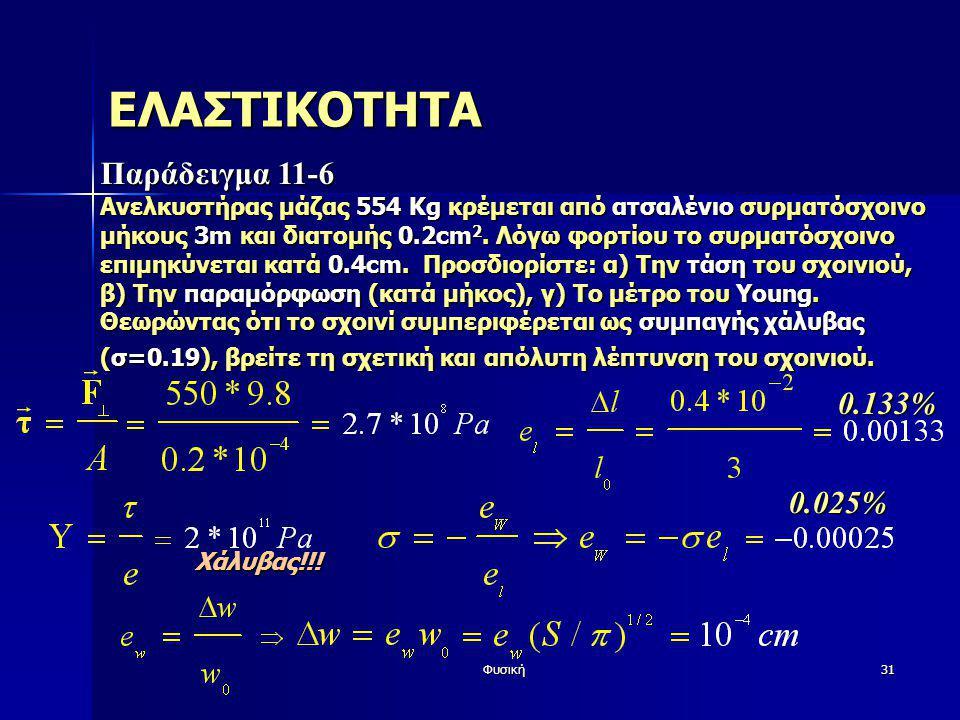 Φυσική31 ΕΛΑΣΤΙΚΟΤΗΤΑ Παράδειγμα 11-6 Ανελκυστήρας μάζας 554 Kg κρέμεται από ατσαλένιο συρματόσχοινο μήκους 3m και διατομής 0.2cm 2. Λόγω φορτίου το σ